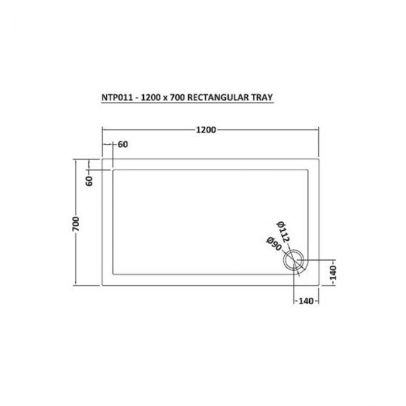 Hudson Reed Pearlstone Rectangular 1200mm x 700mm Shower Tray Dimensions Image