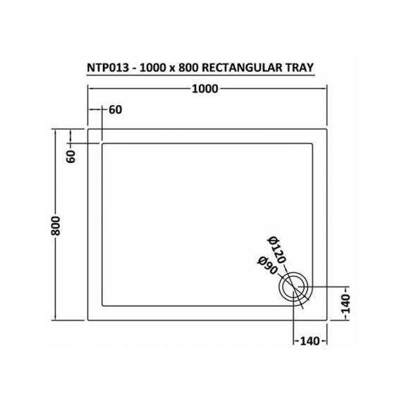 Hudson Reed Pearlstone Rectangular 1000mm x 800mm Shower Tray Dimensions Image