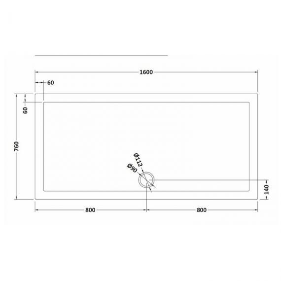Hudson Reed Pearlstone Rectangular 1600mm x 760mm Shower Tray Dimensions Image