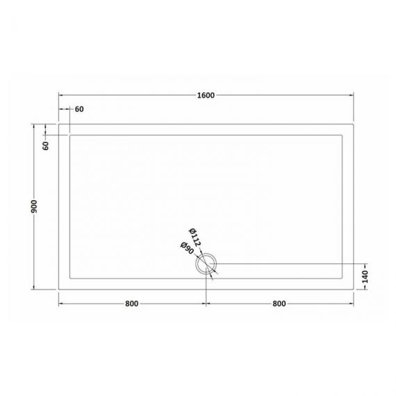 Hudson Reed Pearlstone Rectangular 1600mm x 900mm Shower Tray Dimensions Image