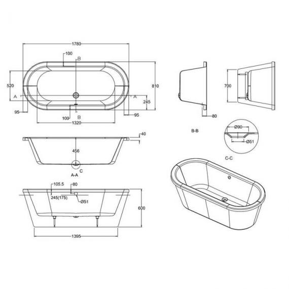 Clearwater Nouveau Flat Top Freestanding Bath Specification
