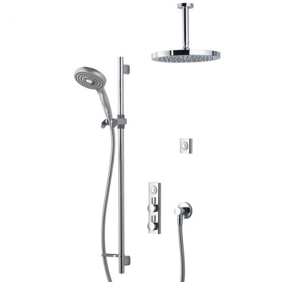 Aqualisa HiQu Dual Outlet Smart Shower with 250mm Round Head & Slider Rail Kit