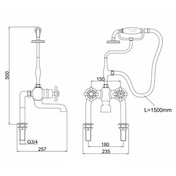 Burlington Tay Deck Mounted Bath Shower Mixer with Kit Specification