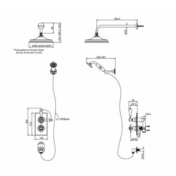 Burlington Trent Thermostatic Dual Shower Valve With Shower Rose & Handset Specification