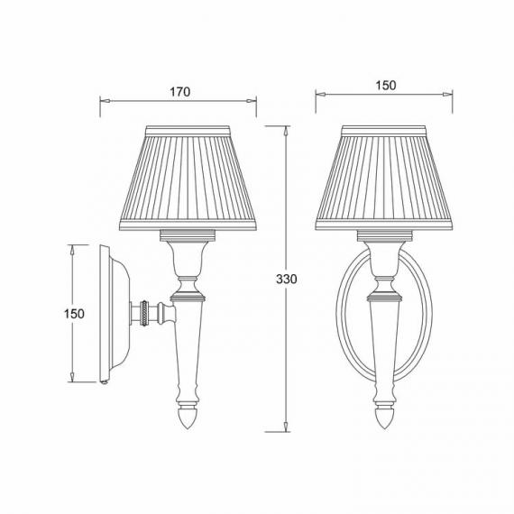 Arcade Oval Base with Fine Pleat Shade Wall Light Specification