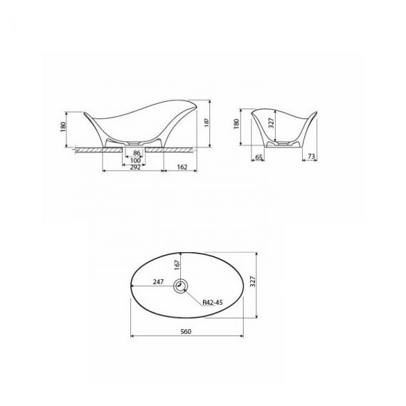 Bauhaus Alice 560mm Countertop Basin - Specification