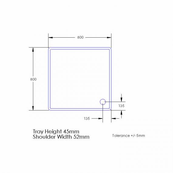 Aquaglass 800 x 800mm Square Shower Tray & Waste Specification