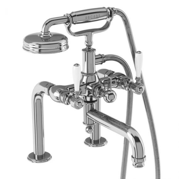 Arcade Crosshead Deck Mounted Bath Shower Mixer with Choice of Handle