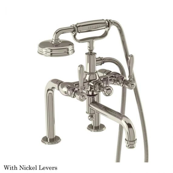 Arcade Deck Mounted Bath Shower Mixer with Handset With Nickel Levers