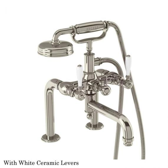 Arcade Deck Mounted Bath Shower Mixer with Handset With White Levers