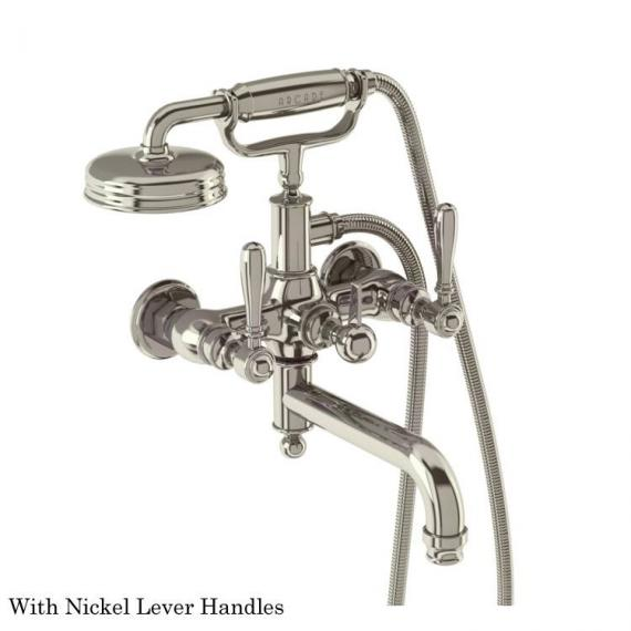 Arcade Wall Mounted Bath Shower Mixer with Handset With Nickel Levers