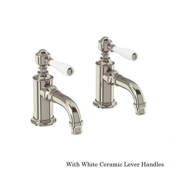 Arcade Nickel Cloakroom Basin Pillar Taps With White Levers