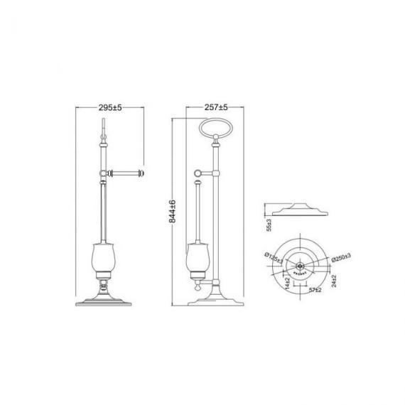 Arcade Chrome Freestanding Toilet Roll Holder with WC Brush & Holder Specification