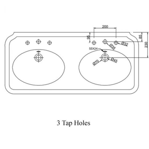 Arcade 1200mm Double Basin Specification