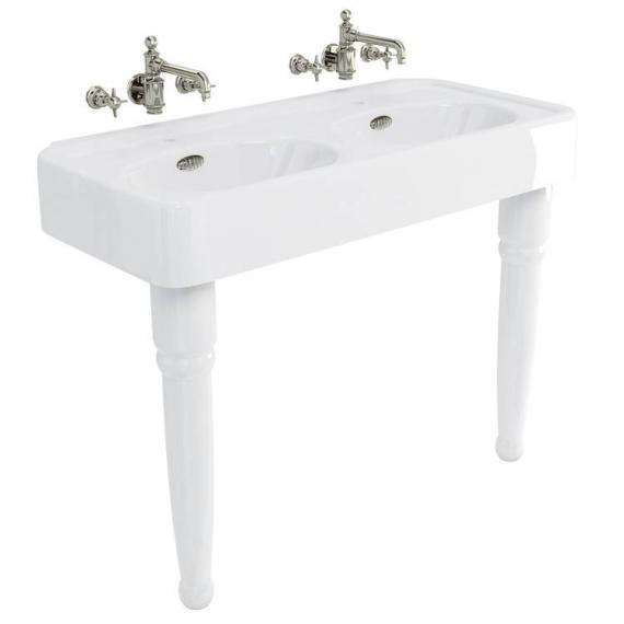 Arcade 1200 Double Console Basin with Ceramic Legs - 0 Tap Hole