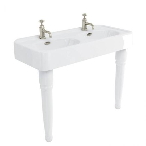 Arcade 1200 Double Console Basin with Ceramic Legs - 1 Tap Hole