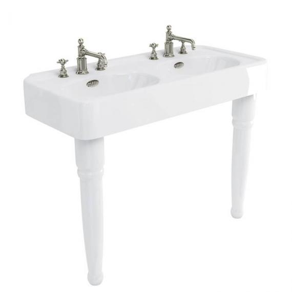 Arcade 1200 Double Console Basin with Ceramic Legs - 3 Tap Hole