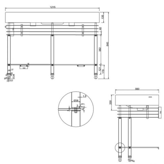 Arcade 1200mm Double Basin with Wash Stand & Glass Shelf Specification