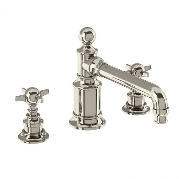 Arcade Nickel 3 Tap Hole Deck Mounted Basin Mixer