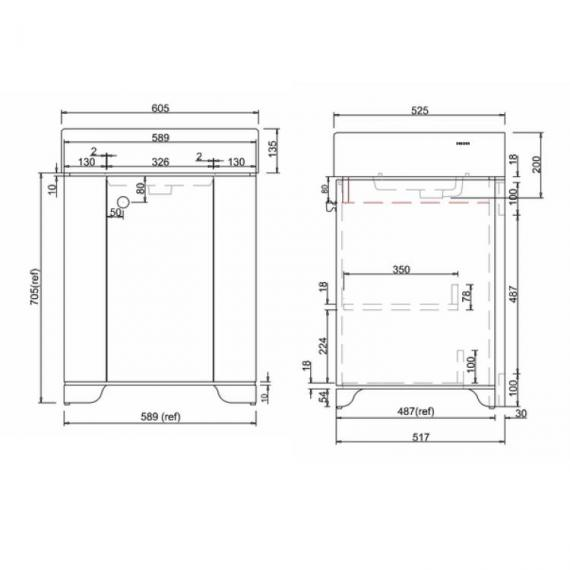 Arcade Sand 600mm Floorstanding Vanity Unit Specification