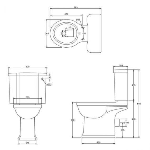 Arcade Open Back Close Coupled Toilet Specification