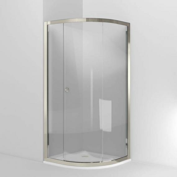 Arcade Single Sliding Quadrant Shower Door - Nickel Finish