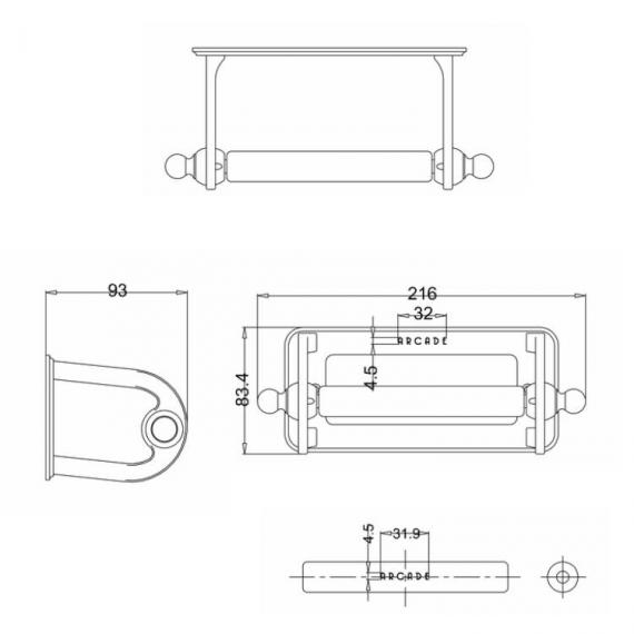 Arcade Toilet Roll Holder Specification