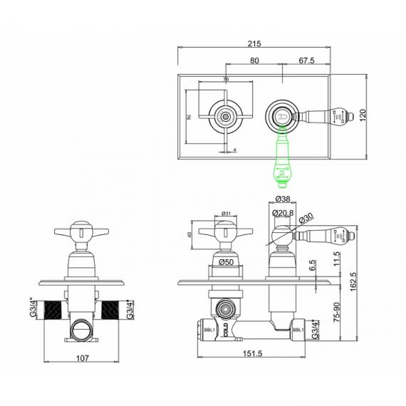 Arcade Trent Nickel Concealed Thermostatic Shower Valve Specification