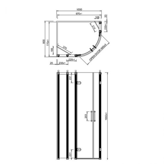 Burlington 1000 X 800mm Offset Quadrant Shower Enclosure Spec