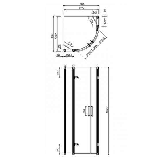 Burlington 800 Quadrant Shower Tray Specification