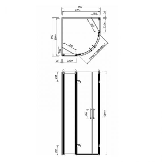 Burlington 900 Quadrant Shower Enclosure Specification