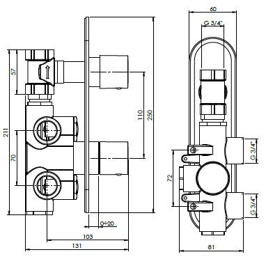 Crosswater Central Thermostatic Shower Valve - Specification