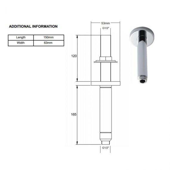 BC Designs Victrion Ceiling Mounted Shower Arm