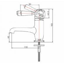 Burlington Chelsea Regent Straight Mono Basin Mixer Specification