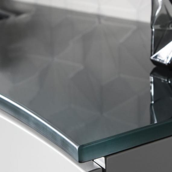 Bauhaus Svelte White Gloss 120 Vanity Unit & Charcoal Glass Basin Detail