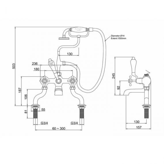 Burlington Anglesey Deck Mounted Bath Shower Mixer Specification