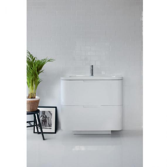 Aqua Cabinets Compact White 900mm Two Drawer Vanity Unit & Basin