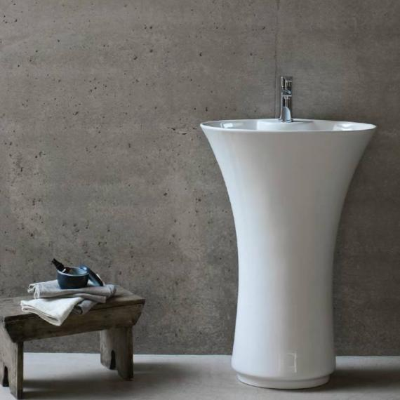 Britton Bathrooms Curve Freestanding Basin with Integrated Pedestal