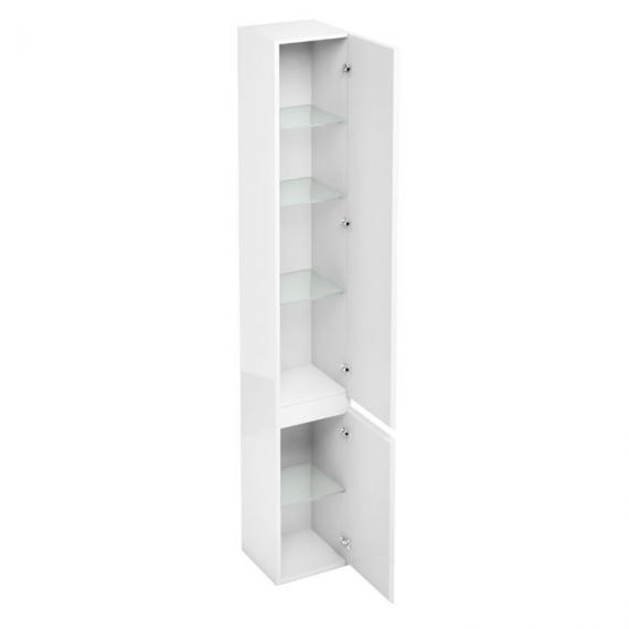 Aqua cabinets white gloss d300 tall unit with mirror - White tall bathroom storage unit ...