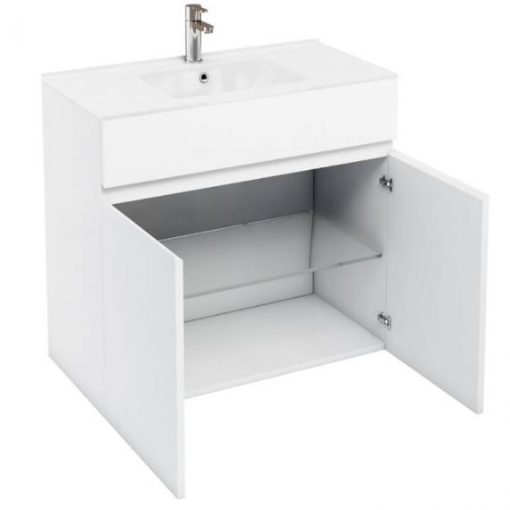 Aqua Cabinets D450 White 900mm Double Door Unit & Basin