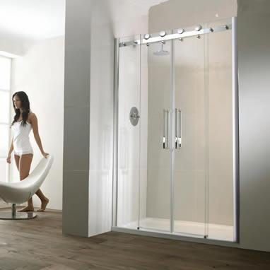 Aquaglass Semi Frameless Twin Sliding Shower Door