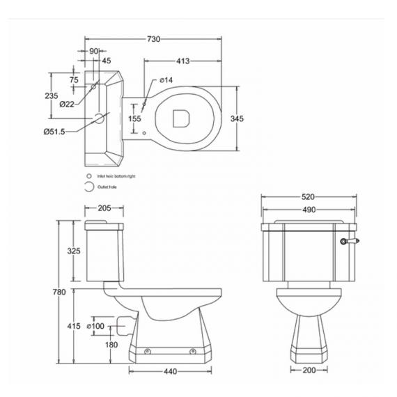 Burlington English Garden Close Coupled WC & Cistern Specification