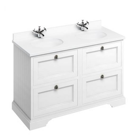 Burlington Matt White 1300mm Double Vanity Unit with Drawers, Minerva White Worktop & Basin