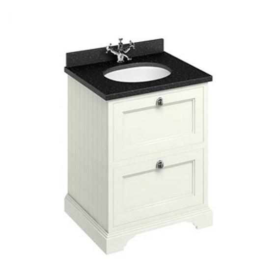 Burlington Sand 650mm Freestanding Unit, Minerva Black Granite Worktop & Basin