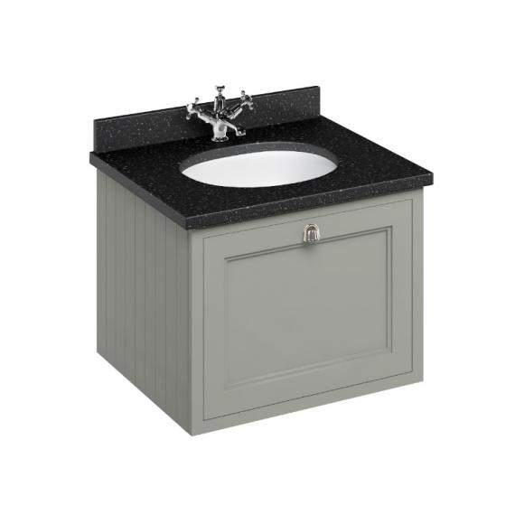Burlington Olive 650mm Wall Hung Vanity Unit, Black Granite Worktop & Basin