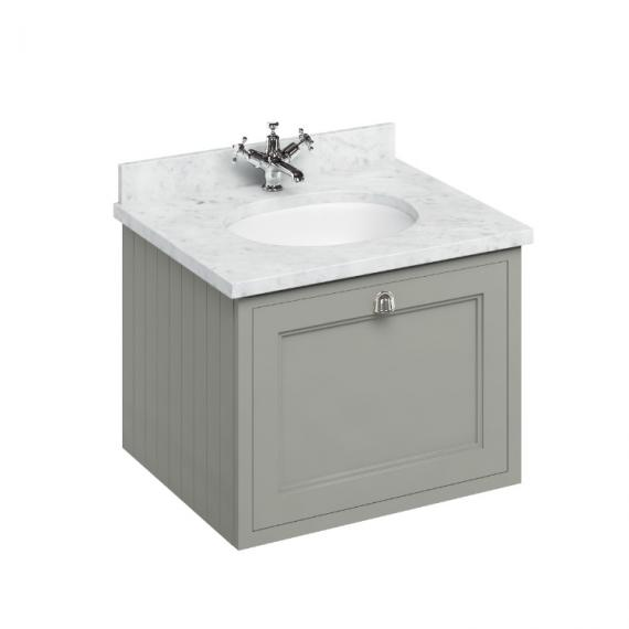Burlington Olive 650mm Wall Hung Vanity Unit, Carrara White Worktop & Basin