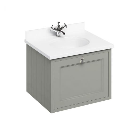 Burlington Olive 650mm Wall Hung Vanity Unit, Worktop & Basin