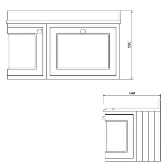 Burlington Olive 1000mm Curved Wall Hung Vanity Unit Specification