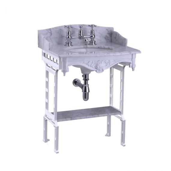 Burlington Carrara Marble Top With Basin & White Wash Stand