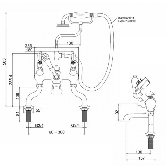 Burlington Kensington Angled Bath Shower Mixer Specification